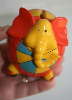 """Vintage Colorful and Cute Patchwork Elephant Piggy Coin Bank- 3.5"""" Tall"""