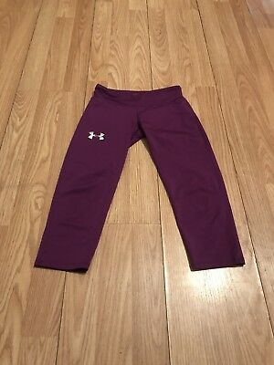 GIrls Under Armour Compression Running Fitted Capri Pants Small YSM Purple