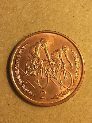 "Isle of Man 2p Two Pence Coin ""Cycling Week"" 1998"