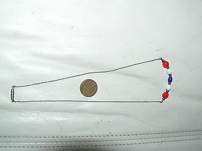 Old Vintage Czech Glass Beaded Pendant with the Original Metal Chain Estate