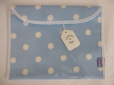 Baby Health Red Record Book Holder 'Blue Dotty' Oilcloth - BNWT