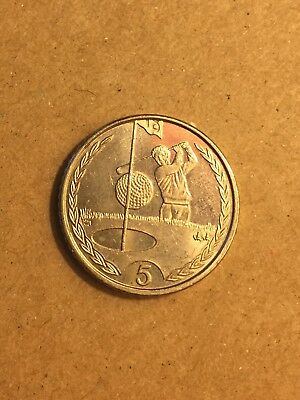 "Isle of Man 5p Five Pence Coin 1998 ""Golf - Hole In One"""