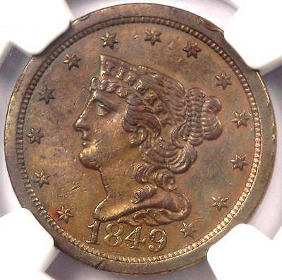 1849 Braided Hair Half Cent 1/2C - NGC Uncirculated Details (BU MS UNC)