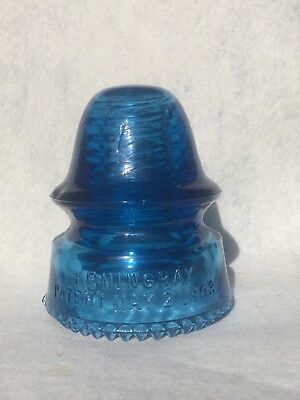 CD 162 Hemingray Patent Cornflower Sapphire Blue Insulator