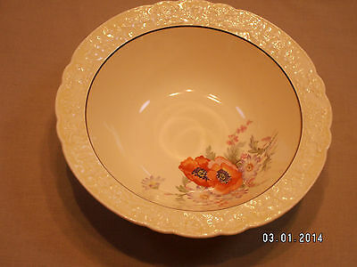 Vintage Golden Rod Dinner Ware Large Serving Bowl Poppies Flowers Great