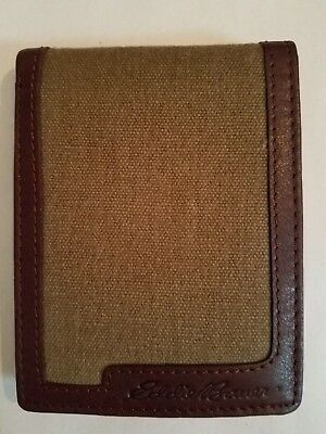 Eddie Bauer Bi-Fold Leather Canvas wallet color olive new condition