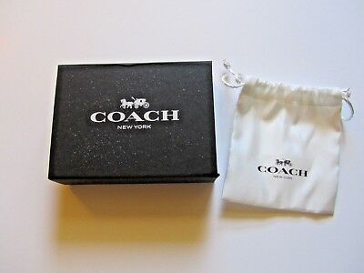COACH SMALL Magnetic closure Empty Black Gift BOX + DRAW STRING POUCH