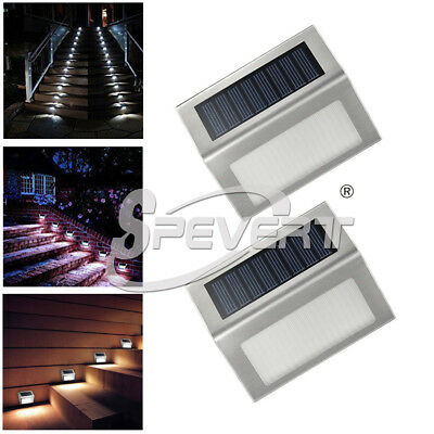 3 Led Solar Powered Door Fence Wall Lights Outdoor Garden Lighting Stairway Lamp