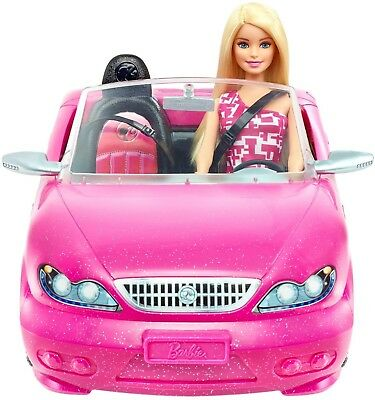 Barbie Pink Convertible Car and Doll - NEW