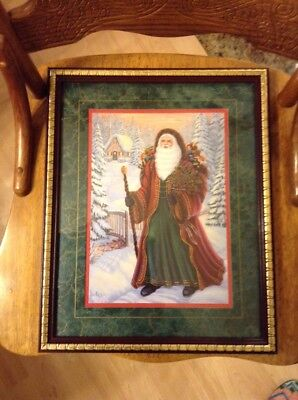 home interiors Santa Claus picture Christmas Scene St Nick G. Barker Wall Winter