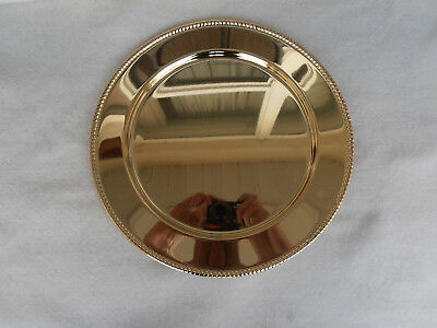 """Stunning 12"""" Round Gold Plated Serving Charger Tray/Platter"""