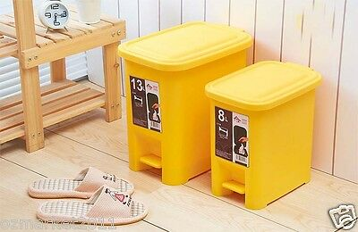 Fashion Yellow Plastic Thick Waste Bins/Kitchen Bedroom Toilet Bins Two Pieces