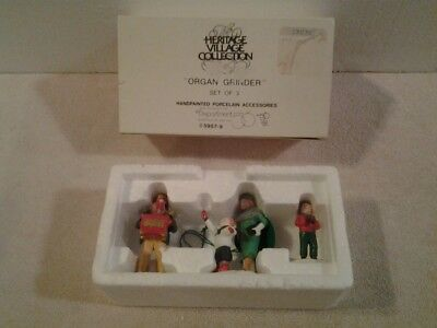 "Department 56 Heritage Village Dickens Coll ""ORGAN GRINDER"" set of 3 accessory"