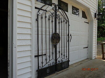 Tuscan Old World Iron Arched Scroll Garden/wine Cellar Gate