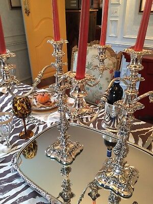 Pair of Antique English Silver Plate Candelabra – Ellis Barker