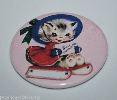 KITTEN ON WINTER SLED MAGNET Christmas Vintage Holiday Retro Cat Art