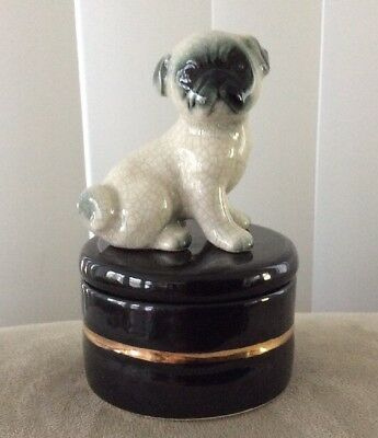 """Vintage Japanese Pug Dog TRINKET BOX 3 1/2"""" Tall Excellent Condition"""
