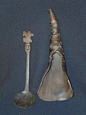 CARVED BUFFALOW  HORN CEREMONIAL SPOON and SCOOP, TIMOR INDONESIA