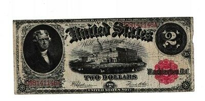 1917 $2 Two Dollar Bill Red Seal United States Legal Tender Large Currency Note!