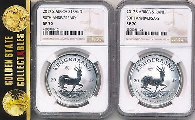 2017 South Africa 50Th Anniversary Innaugural Silver  S1 Krugerrand Ngc Sp70 X 2