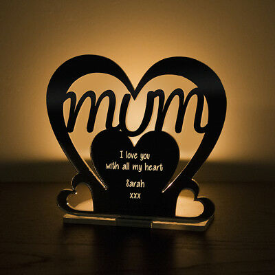 Personalised Mum Heart Mirror Tea Light Holder Birthday Gift Mummy Nanny Granny