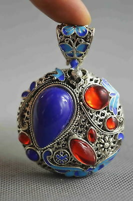 Fine Collectable Handwork Miao Silver Carve Colorful Flower Inlay Agate Pendant