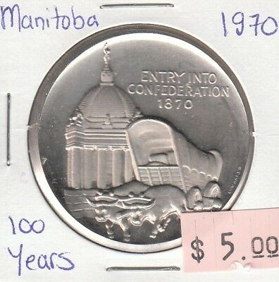 Manitoba Canada Centenary - 1870-1970 Entry into Confederation Medallion