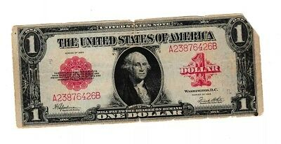 1923 $1red seal United States Note Large Currency Note!
