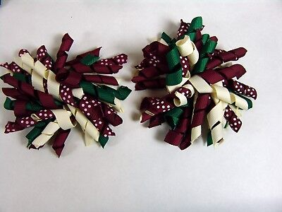 "Girls Korker Grosgrain Corkscrew Hair Bows Clips 4"" - Lot of 2 Red Green White"