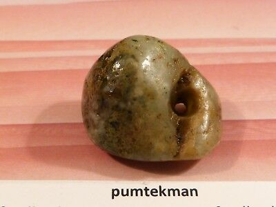 Ancient Pre-Columbian Mesoamer. Sea Foam Jadeite Borenstein Bead 25.5 By 21 Mm