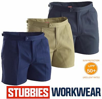 "Stubbies Mens Drill ""utility"" Tab Side Reinforced Single Pleat Work Short Bb5513"