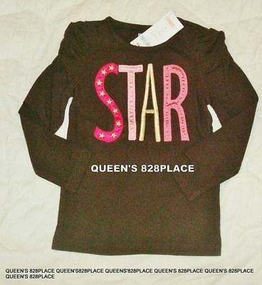 Nwt Gymboree Girls 4 4T Star of the Show Brown pink star long sleeve Top Shirt
