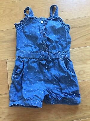 Girls Baby Gap Playsuit - Blue/ White Spots - Size 2 Years