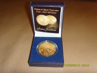 1933 St Gaudens $20 Gold Clad Coin  TRIBUTE PROOF w/Box