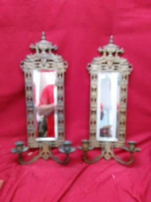 Antique Pair of Two 2 Ornate Brass Bronze Candle Wall Sconces Mirrored Mirrors