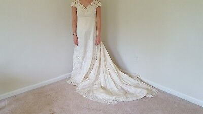 Priscilla of Boston 1950 Vintage Antique Silk Lace Wedding Dress Ivory Size 8