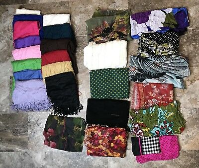 Huge Lot Of 26 Scarves Assorted Brands, Colors, Style