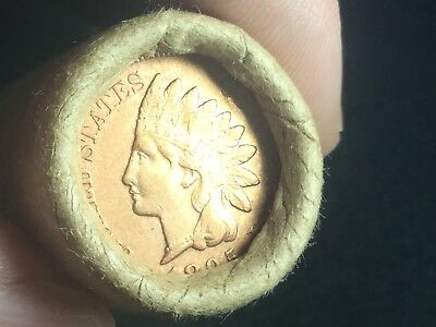 Vintage Sealed Unsearched Wheat Penny Roll Capped By UNC 1895 INDIAN HEAD Penny