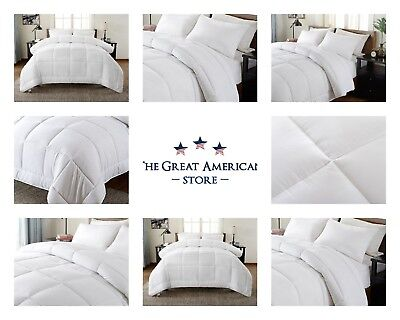 Goose Down Alternative Double Filled Luxury White Comforter King Queen Twin Size