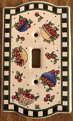 Mary Engelbreit Light Switch Plate Cover Bowl of Cherries Ceramic Single New