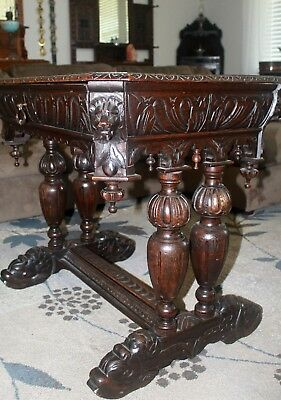 Antique French Victorian Carved Oak Dolphin Library Table Desk Renaissance