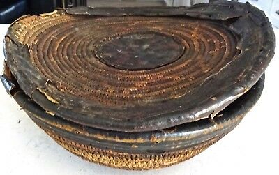 Antique African Coil Lidded Bowl Basket Leather Trim Nupe Tribe Niger late 1800s