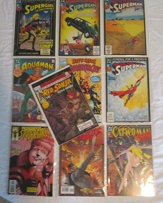 Lot of 10 Comic Books: Aquaman - Catwoman - Red Sonja - Super Girl - Spider-Girl