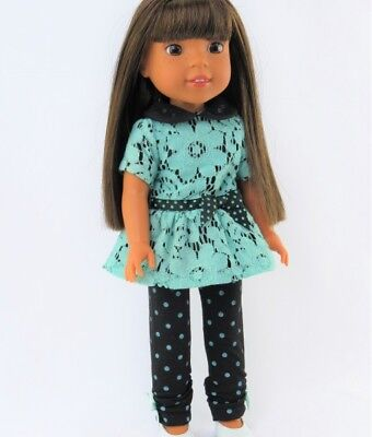 "Doll Clothes 14.5"" Pants Black Polka Dot Top Teal Lace Fit 14.5"" AG Wellie Dolls"