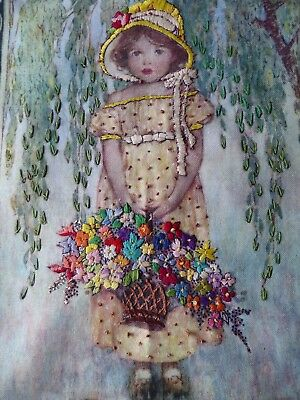 Vintage Hand Embroidered Picture Panel- Beautiful Little Girl & Flowers