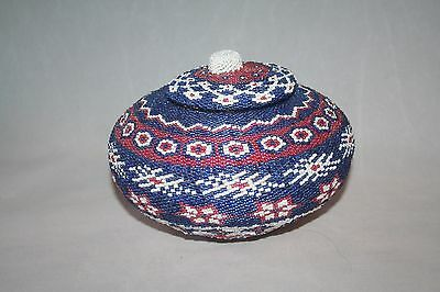 Beaded coil made basket from  Bali, Indonesia made by Ni Nyoman Sumadi