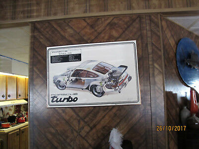 Vintage Posrche 911 930 Turbo Exposed Dealer Poster Framed Man Cave Graphic Art