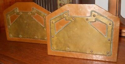 Antique Arts And Crafts Brass And Copper Bookends Beautiful Crafted Hand Riveted