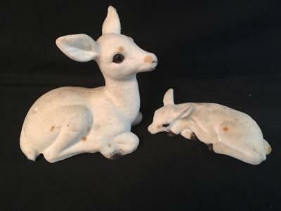 Lot of 2 Vintage Flocked White Deer Fawn Bambi Figurines Mid Century
