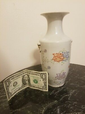 Antique/Vintage Chinese Vase with Flowers & Gold Gilded Handles & Kiln